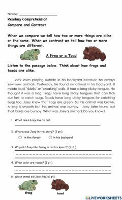 Interactive worksheet A Frog or Toad