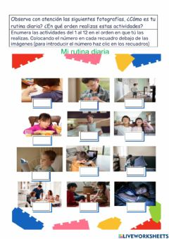 Interactive worksheet -mi rutina diaria