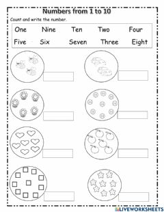 Interactive worksheet Numbersfrom 1 to 10