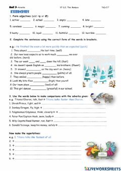 Interactive worksheet Adverbs Form & Comparison