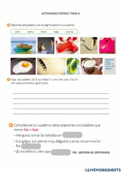 Interactive worksheet Polisemia, palabras con h