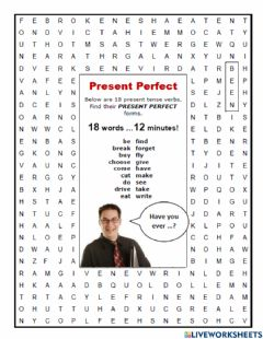 Interactive worksheet Word Search Present Perfect