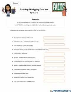 Interactive worksheet Workshop: Fact and Opinion