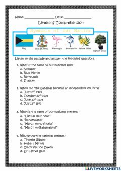 Interactive worksheet Symbols of Our Nation