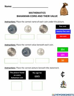 Ficha interactiva Bahamian Coins and their Values