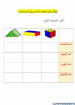 Interactive worksheet المجسّمات