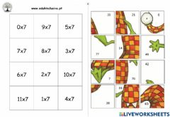 Interactive worksheet Puzzle tabuada do 7