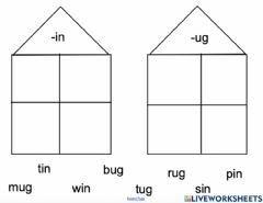 Interactive worksheet In and Ug word families