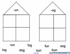 Interactive worksheet Un and Og word families