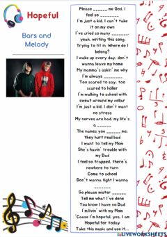 Ficha interactiva Song: Helpful-Bars and Melody