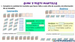 Interactive worksheet Sumo y resto manteles