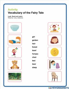 Interactive worksheet Match vocabulary of a fairy tale