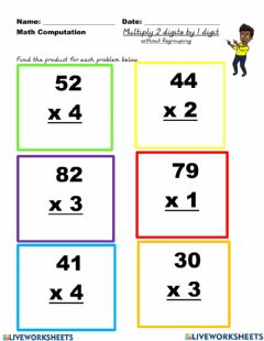 Ficha interactiva Multiplication