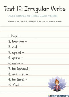 Interactive worksheet Irregular Verb Past Simple Test (10)