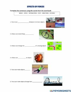 Ficha interactiva Effects of forces