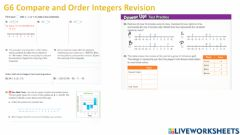Interactive worksheet G6 Compare and Order Integers Revision PART 1