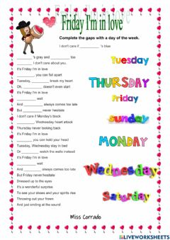 Interactive worksheet SONG - Friday I'm In Love - The Cure