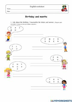 Interactive worksheet When is your birthday