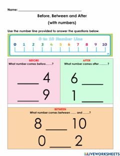 Ficha interactiva Maths Concept: Before, Between and After (with numbers)
