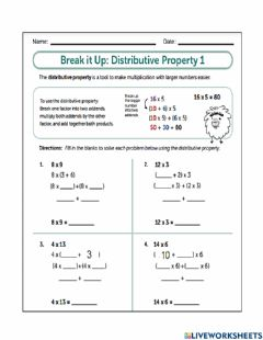 Interactive worksheet The Distributive Property and Associative Property
