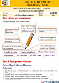 Interactive worksheet Temario de lengua