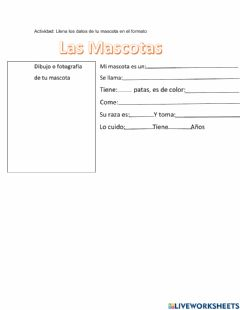 Interactive worksheet Las mascotas