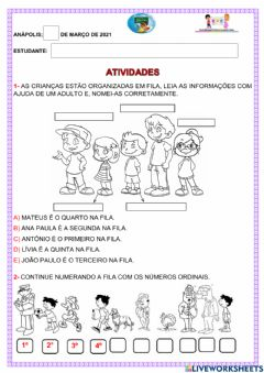 Interactive worksheet Numerais ordinais