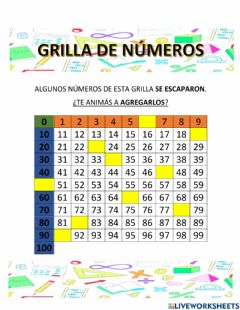 Interactive worksheet Grilla de números incompleta
