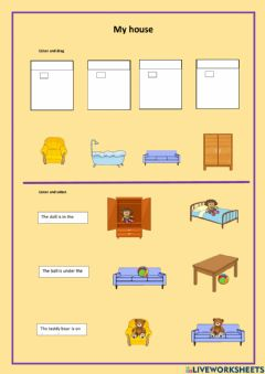 Interactive worksheet My house (furniture-prepositions)
