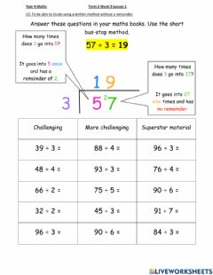 Interactive worksheet DIS Maths week 9 Lesson 1 (Higher)