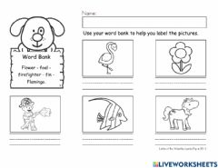 Interactive worksheet Letter F word bank