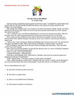 Interactive worksheet BES-RL4.3 Characters Extended Learning