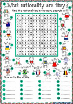 Interactive worksheet What nationality are they? - word search