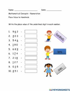 Interactive worksheet Place Value to Hundreds
