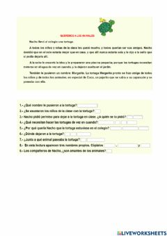Interactive worksheet La tortuga Margarita