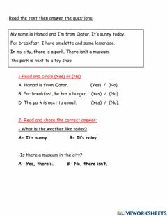 Interactive worksheet Read the text then answer the following questions.