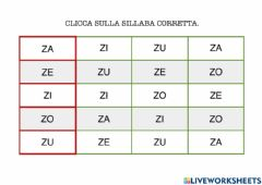 Interactive worksheet Sillabe di Z