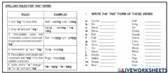 Ficha interactiva Spelling forms of ing verbs