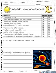 Interactive worksheet What do I know about space?
