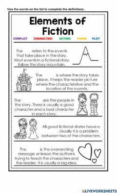 Interactive worksheet Elements of Fiction