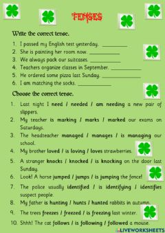 Interactive worksheet Present and past tenses