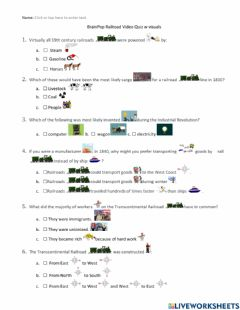 Interactive worksheet BrainPop Railroad Quiz w visuals