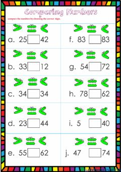 Ficha interactiva Comparing numbers 1st grade