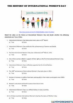 Interactive worksheet Video: The History of International Women's Day