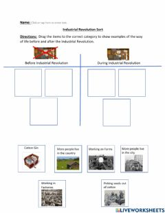Interactive worksheet Industrial Revolution Sort