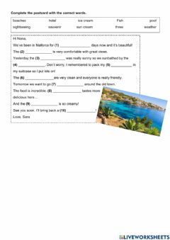 Interactive worksheet Complete with the correct words