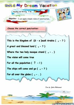Interactive worksheet My dream vacation