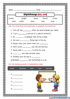 Interactive worksheet Diphthongs (au and aw)