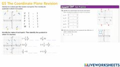 Interactive worksheet G5 The Coordinate Plane Revision PART 1