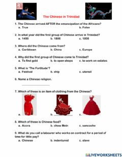 Interactive worksheet The Chinese in Trinidad